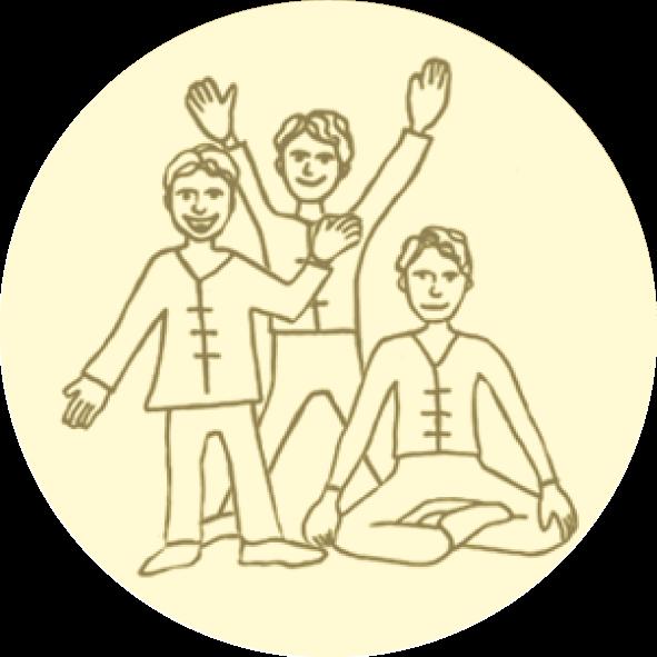 zeichnung mit figuren, die erzählen, sich bewegen und yoga machen
